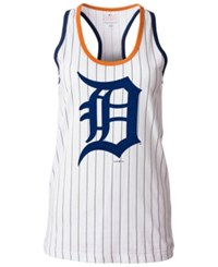 5Th And Ocean Women's Detroit Tigers Pinstripe Glitter Tank Top White