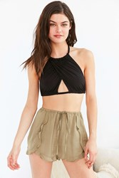 Out From Under Mila Cross Front Rope Tie Bra Top Black