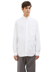 Thom Browne Phase 3 Distressed Pointed Collar Oxford Shirt White