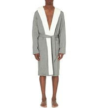 Hamilton And Hare Contrast Cotton Dressing Gown Grey