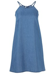 Fat Face Lois Chambray Dress Blue