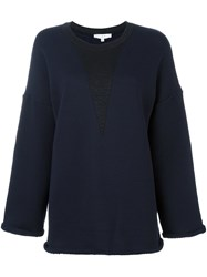 Iro Contrast Panel Roll Trim Sweatshirt Blue
