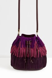 Sara Battaglia Tassle Suede Bucket Bag Purple
