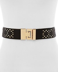 Ivanka Trump Peekaboo Perforated Stretch Belt Black