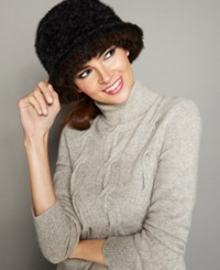 The Fur Vault Knitted Mink Fur Beret Black Brown