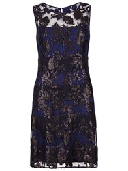 Gina Bacconi Fancy Sequin Lace Fit And Flare Dress Midnight