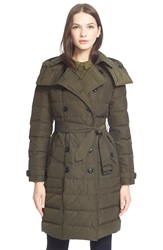 Burberry Brit 'Allerdale' Long Belted Down Trench Coat Olive