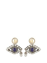 Gucci Crystal Embellished Eye Drop Earrings Blue