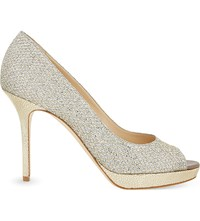 Jimmy Choo Luna 100 Glitter Heeled Pumps Champagne