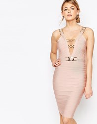 Forever Unique Bandage Midi Dress With Chain Detail Nude Pink