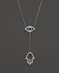 Bloomingdale's Sapphire And Diamond Evil Eye Hamsa Y Necklace In 14K White Gold 16 Blue White