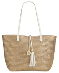 Inc International Concepts La Izla Straw Tote Only At Macy's Gold