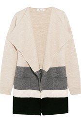 Madewell Striped Boiled Wool Cardigan Beige
