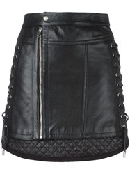 Diesel Black Gold Lace Up Side Mini Skirt Black
