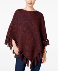 Styleandco. Style Co. Boat Neck Fringe Poncho Only At Macy's Indstrl Blue Rch Auburn