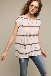 Anthropologie Tie Dye Button Back Tee Taupe