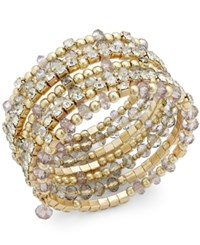 Inc International Concepts Gold Tone Black And Metal Bead Coil Bracelet Only At Macy's