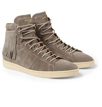Saint Laurent Fringed Suede High Top Sneakers Taupe