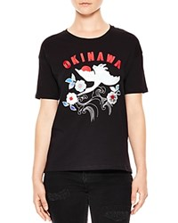 Sandro Okinawa Embroidered Tee Black