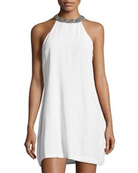 Mlv Embellished Trim A Line Silk Dress White