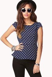 Forever 21 Polka Dot Chiffon Peplum Top Navy Cream