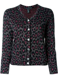 Marc By Marc Jacobs Leopard Intarsia Cardigan Black