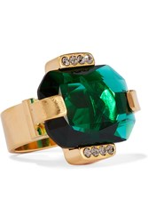 Marni Gold Tone Crystal Ring Gold Emerald