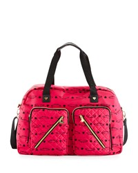 Betsey Johnson Cargo Floral Nylon Weekender Bag Fuchsia Pink
