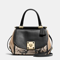 Coach Drifter Top Handle Satchel In Colorblock Exotic Embossed Leather Light Gold Beechwood Multi
