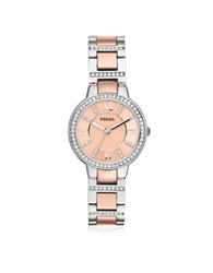 Fossil Virginia Two Tone Stainless Steel Women's Watch W Crystals Silver