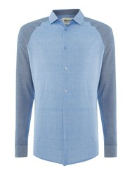 Only And Sons Aiden Raglan Long Sleeve Shirt Mid Blue