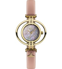 Vivienne Westwood Vv133pkpk Oval Leather And Gold Plated Watch White