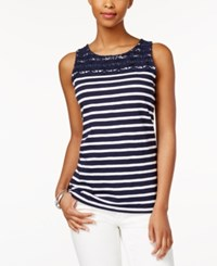 Charter Club Petite Striped Crochet Detail Tank Top Only At Macy's Intrepid Blue