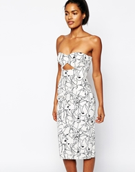 Shakuhachi Bustier Dress In Faces Print White