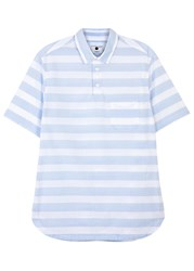 Nn.07 Striped Cotton Poplin Shirt White And Blue