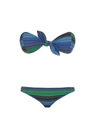 Lisa Marie Fernandez Poppy Striped Bandeau Bikini Green Multi