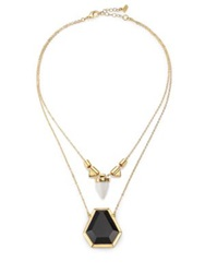 Abs By Allen Schwartz Jewelry Color Mix Geometric Two Row Pendant Necklace Gold Black