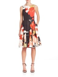 Carmen Marc Valvo Sleeveless Floral Party Dress Coral