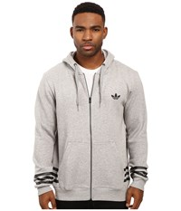 Adidas Street Graphic Full Zip Hoodie Medium Grey Heather Men's Sweatshirt Gray