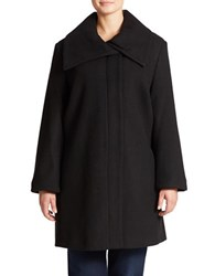 Jones New York Petite Fold Over Collar Wool Blend Coat Black