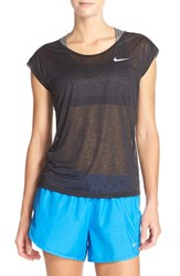 Nike Women's 'Cool Breeze' Burnout Dri Fit Tee Black Reflective Silver