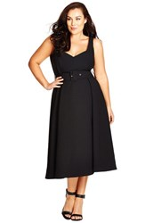 Plus Size Women's City Chic Belted Sweetheart Neckline Tea Length Dress