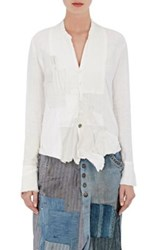 Greg Lauren Women's Patchwork Tuxedo Shirt White