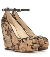 Jimmy Choo Pacific 120 Lace And Cork Wedge Sandals Beige