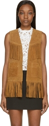 Saint Laurent Whisky Tan Suede Fringed Vest