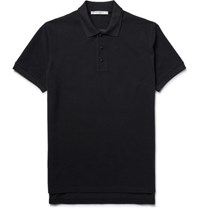 Givenchy Overized Cobra Embroidered Cotton Pique Polo Hirt Black