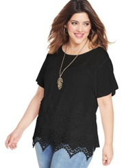 Ing Plus Size Short Sleeve Lace Top Black