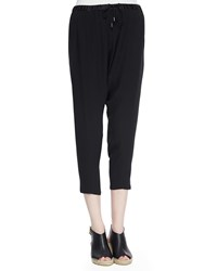 Eileen Fisher Satin Drawstring Harem Ankle Pants Petite Black