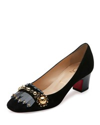 Christian Louboutin Oaxacana Kiltie Red Sole Pump Black Version Black