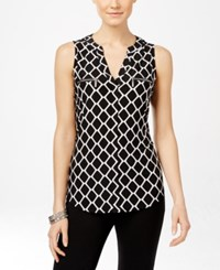 Inc International Concepts Sleeveless Printed Zipper Top Only At Macy's Geo Print